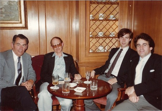 with parents, Peter Feuchtwanger and Michael Haas; Westbury Hotel; September, 1982