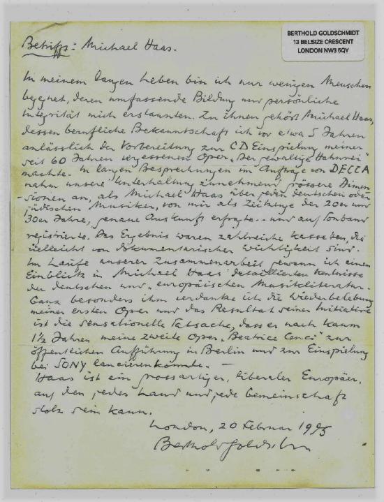 Berthold Goldschmidt Brief 1995