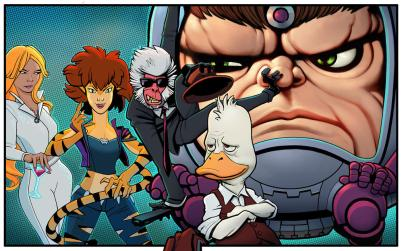 """Imagery for """"Marvel's M.O.D.O.K.,"""" """"Marvel's Hit Monkey,"""" """"Marvel's Tigra & Dazzler Show,"""" and """"Marvel's Howard the Duck,"""" who will all team up in """"Marvel's The Offenders"""""""