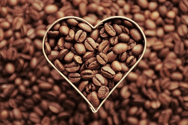 Coffee beans with a heart