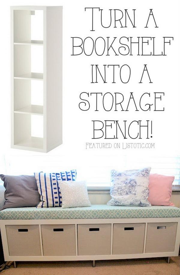 Bookshelf Storage Bench: Turning a simple IKEA bookshelf on its side to create a storage bench seat.