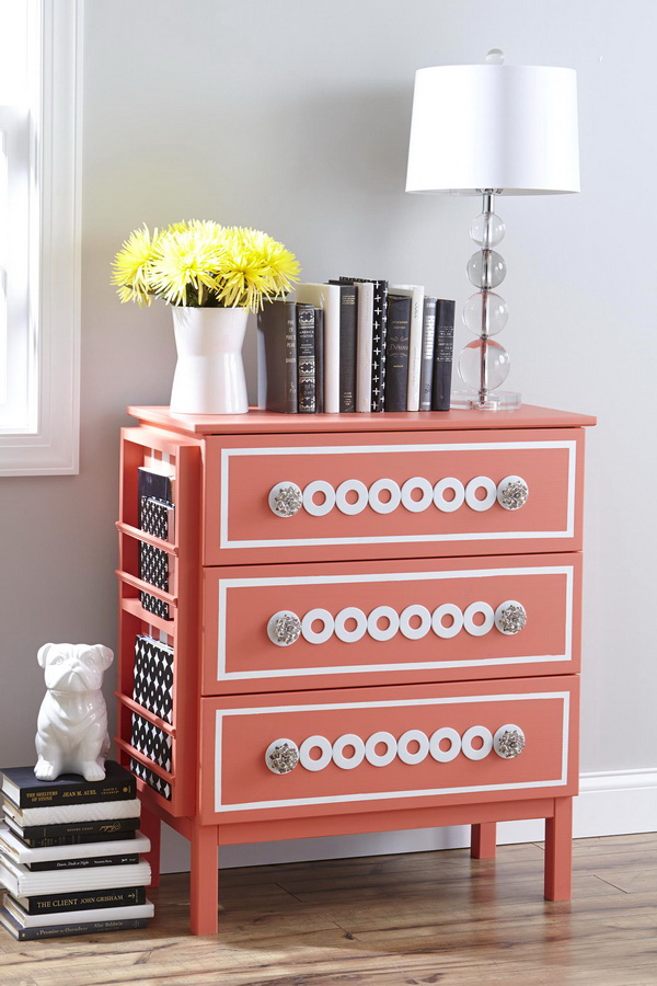 Silver Washers Nightstand: Silver washers create the pretty design on the drawers, and a few extra pieces of wood create that handy little side rack for magazines and books.