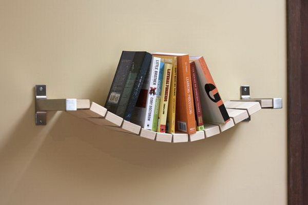 Small Bridge Bookshelf: Make this fun little bridge shelf with IKEA STATLIG board, an EKBY BJARNUM shelf holder, and some paracord and steel washers. Easy to do with a little of woodworking skills.