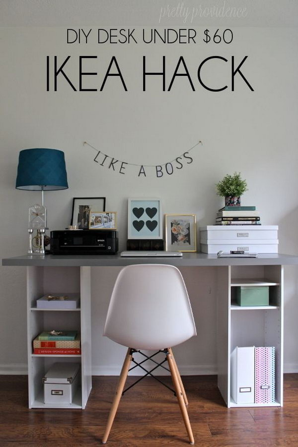 DIY IKEA Hack Desk Under $60: Get two small bookshelves from Target ($18 each) and a big butcher block desk top or a counter top from IKEA, then you can create this unique, functional and decorative desk for your home.