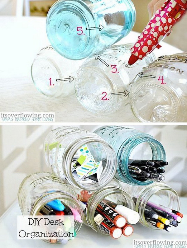 Mason Jar Desk Organizer: Glue several mason jars together and use them to store your office or craft supplies. What a clever idea for your desk organization and storage!