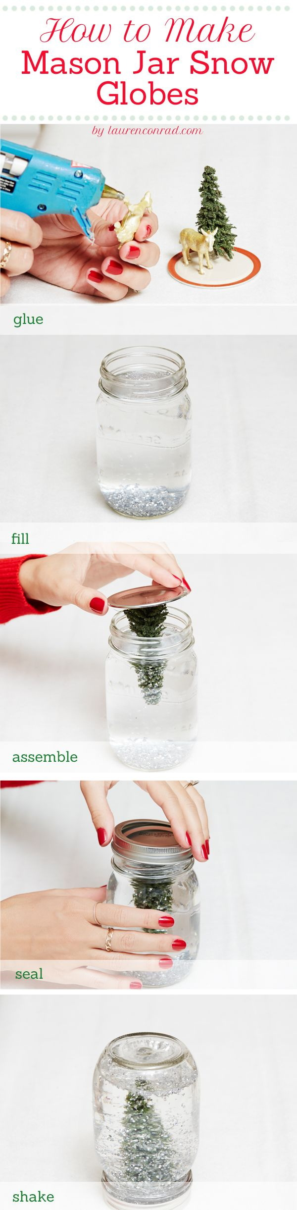 DIY Mason Jar Snow Globes: Make some snow globes for your holiday decor or use it as the holiday gift!