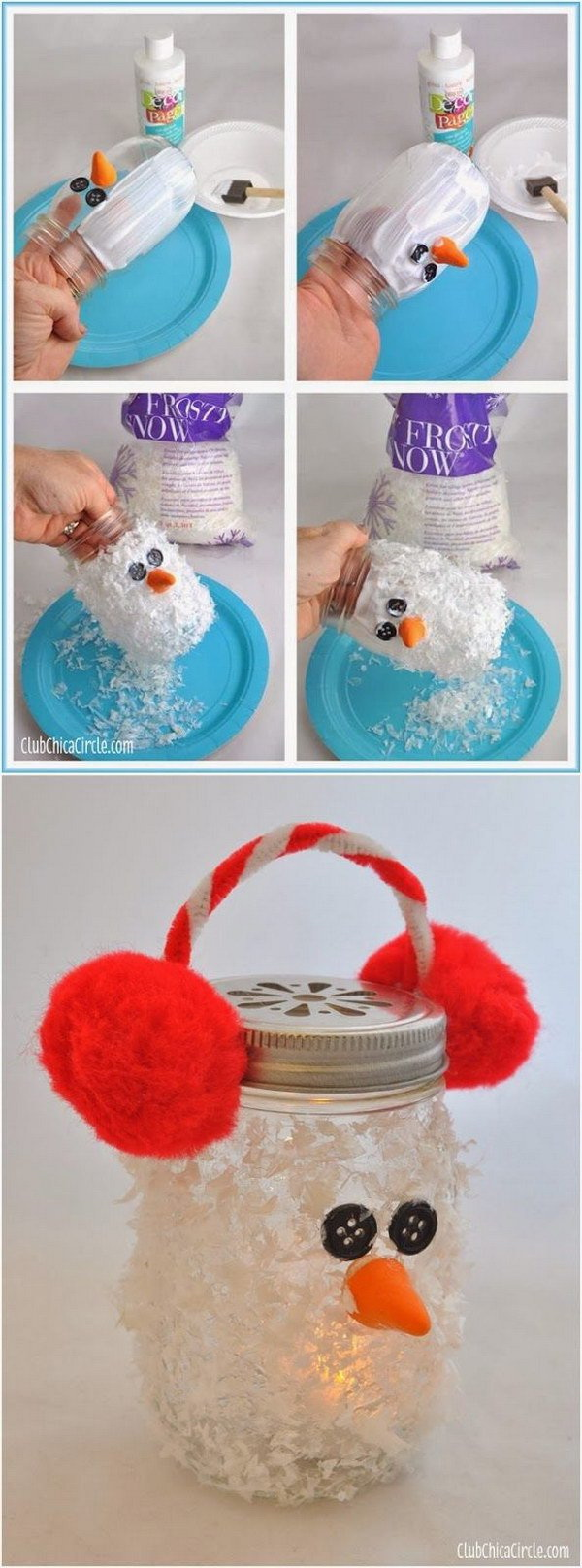 DIY Snowman Mason Jar Luminary: Super cute and adorable and also easy to make!