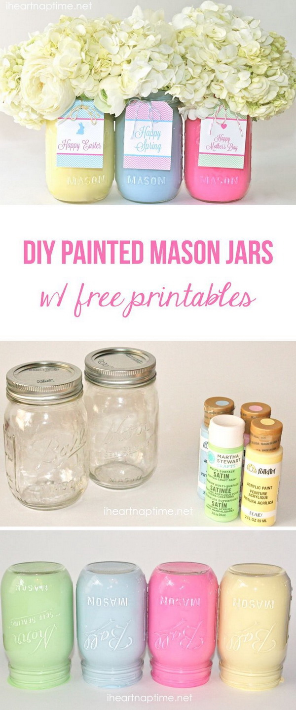 DIY Spring Mason Jar Vases: DIY painted mason jars with free tags. Make a cute and inexpensive gift for Easter or Mother's Day!