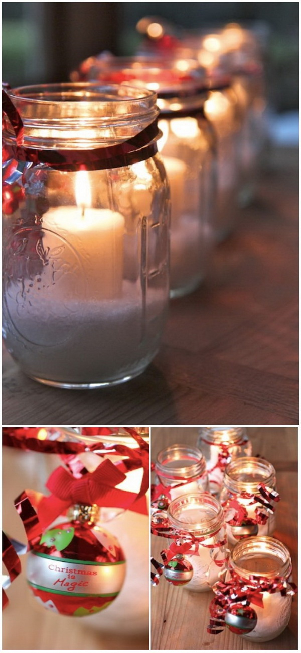 Christmas Mason Jar Candles: These beautiful