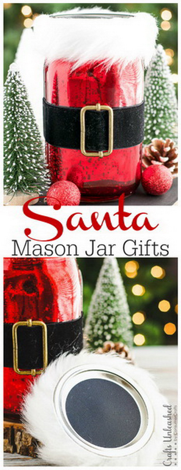 Santa Mason Jar Christmas Gifts: These easy Santa mason jar Christmas gifts are so beautiful that the recipient can later reuse the mercury glass jar as home decor or a storage container!