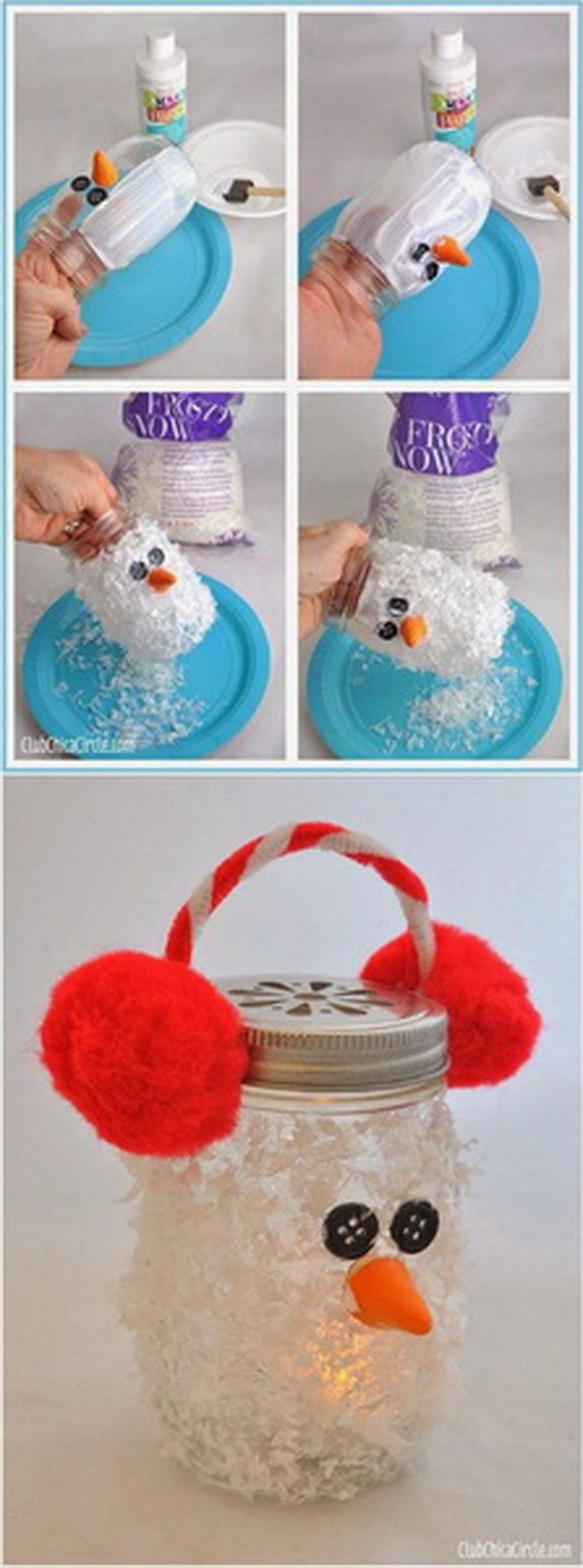 DIY Snowman Mason Jar Luminary: This fuzzy-faced snowman luminary is simply adorable and you can actually have so much fun to make it.