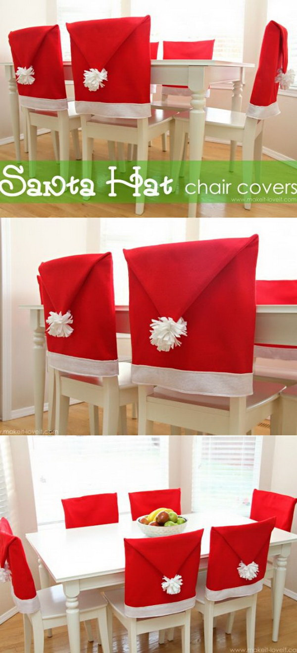 DIY Santa Hat Chair Covers. What a cute idea to add a festive look to your holiday party with these DIY santa hat chair covers!