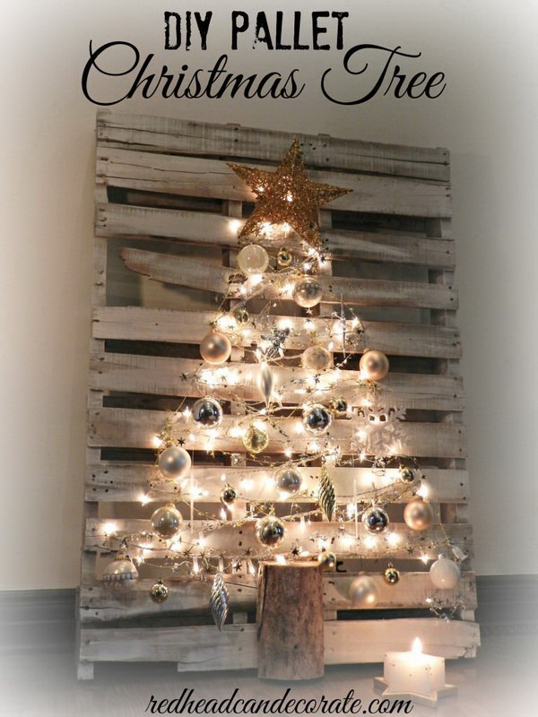 Lighted Pallet Christmas Tree. Use those old pallets together with decorations such as bulbs and ribbons to create this adorable lighted Christmas tree for decorating the porch or yard this Christmas.