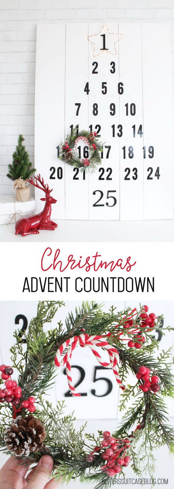 DIY Christmas Tree Advent Countdown. This DIY advent calendar is the cutest way to pass the days until Christmas in style.