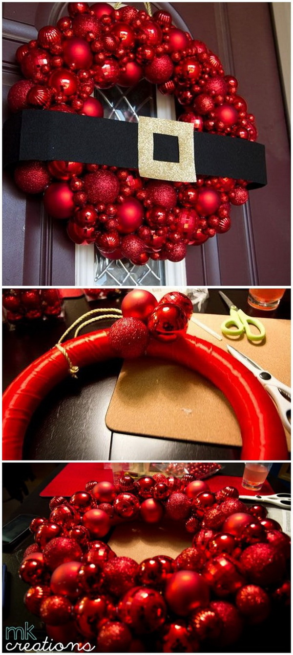 DIY Holiday Ornament Wreath. Make this festive Christmas wreath with Christmas ornaments to match your holiday decor. It is super easy and quick to make under an hour.