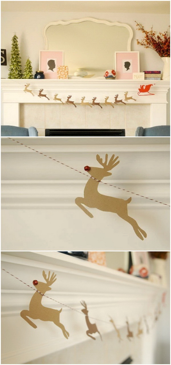DIY Santa & Reindeer Garland. Add a little holiday spirit to your home with this DIY Santa & Reindeer Garland. It's so easy to make with some dollar store supplies.