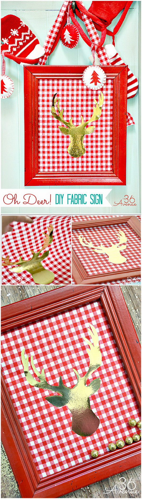 DIY Fabric Deer Head Christmas Sign. Bring the festive spirit into your home by creating this Christmas canvas sign. Super easy and fun to make in an afternon.