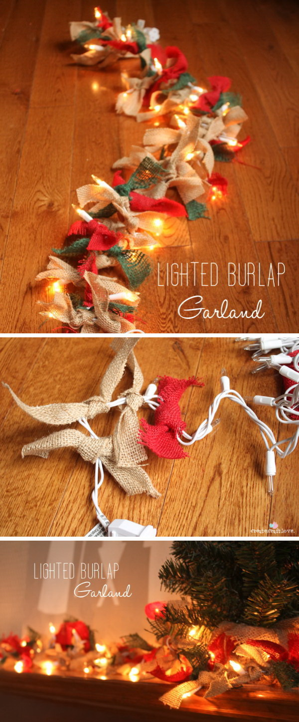 Lighted Burlap Garland. Add a rustic touch to holiday decor with this Christmas lighted garland made with burlap!