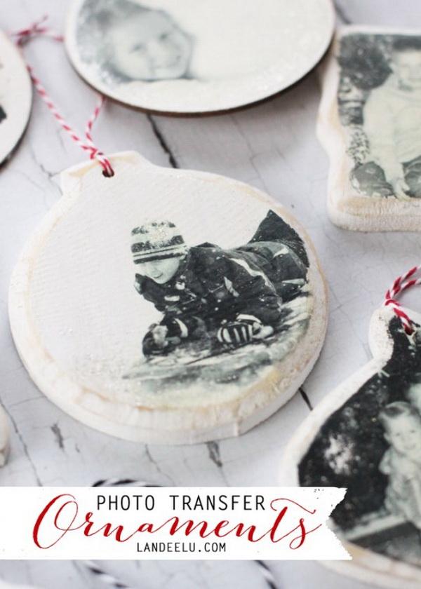 Photo Transfer Christmas Ornaments: Transfer any image onto a piece of wood slice to create a one-of-a-kind keepsake this Christmas season.