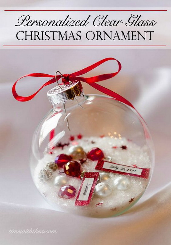 Personalized Clear Glass Christmas Ornament Gift: Another fun Christmas craft! They make personal, unique and gorgeous Christmas gifts!