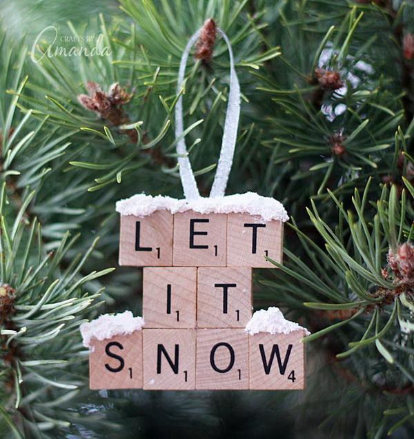 Let It Snow – Scrabble Tile Ornament: