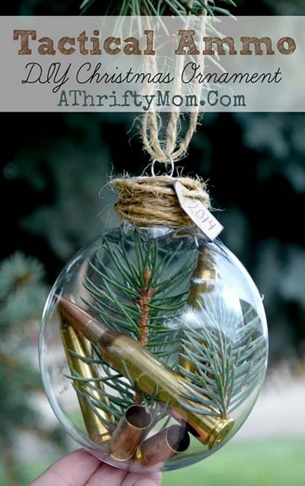 DIY Ammo Christmas Ornament: Create your own ornaments with a simple Chinoiserie pattern allows you to get that expensive, collectible look for a fraction of the cost!