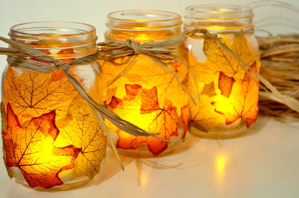 Autumn Leaf, Mason Jar Candle Holder.