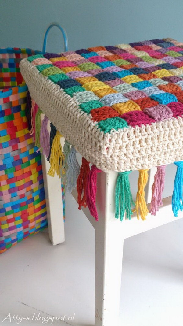 Crochet Stool Cover Free Pattern.