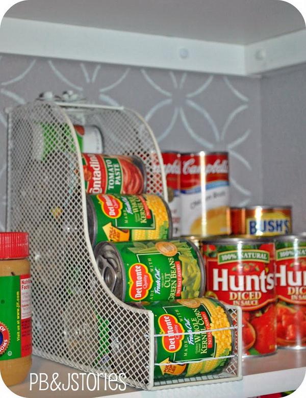 Magazine Holder for Canned Goods: Organize canned goods with a magazine holder.