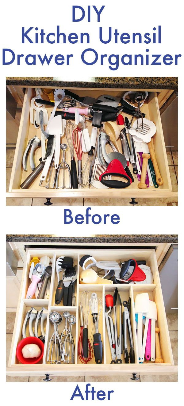 DIY Kitchen Utensil Drawer Organizer: This was a great drawer with tons of storage space. With dividers, everything was organized and easy to find when you need!
