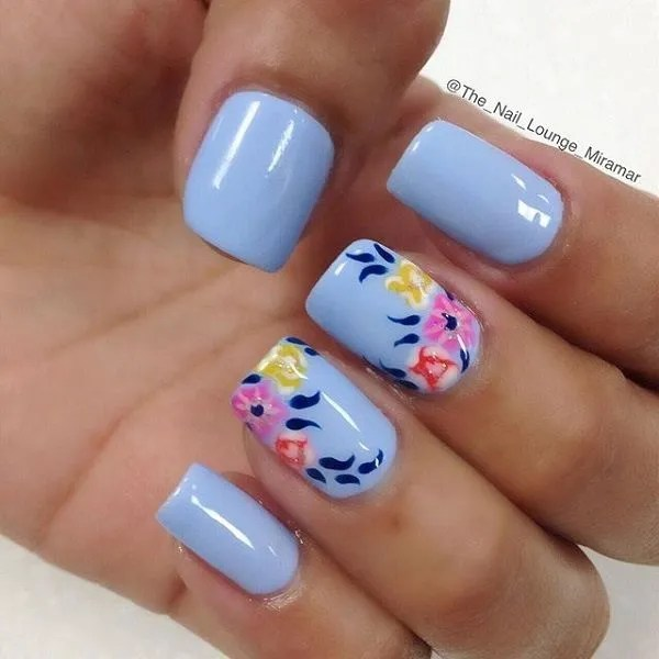 Baby Blue Floral Nail Art Design - 40 Blue Nail Art Ideas - For Creative Juice