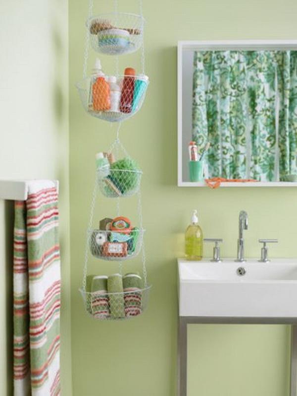 Hanging Basket Bathroom Storage.