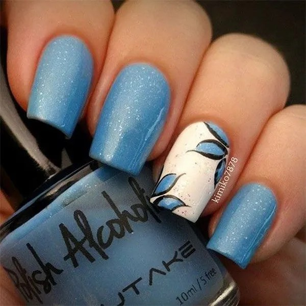 Blue and White Flower Nail Art Design - 40 Blue Nail Art Ideas - For Creative Juice