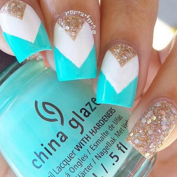 Tiffany Blue, White and Gold Nail Design.