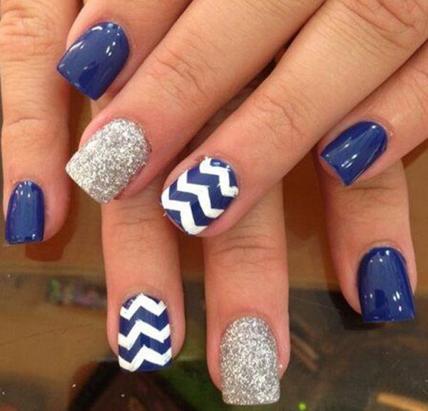 Blue, Silver and White Nail Design with Zig Zag Lines.