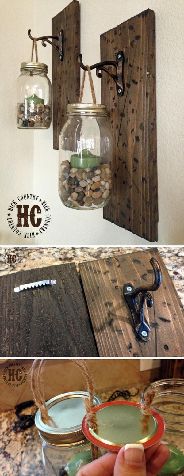 Rustic DIY Mason Jar Wall Lanterns: