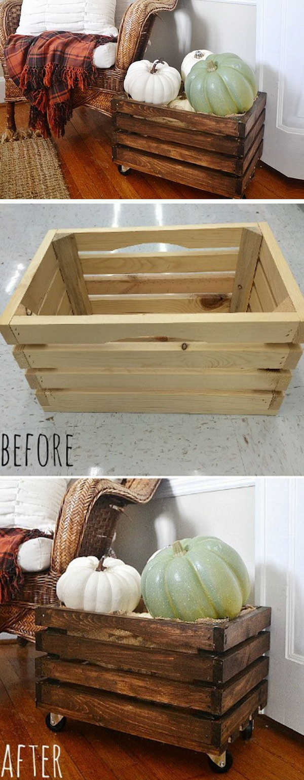 DIY Rustic Rolling Crate: This rolling crate is perfect for your mudroom or front porch.