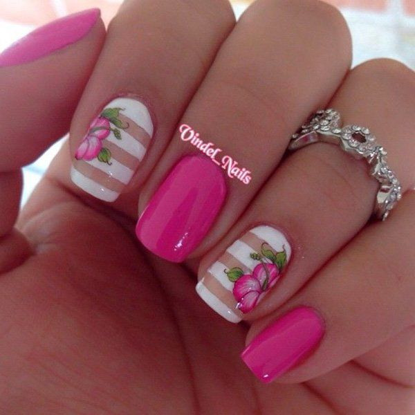 45 pretty flower nail designs for creative juice pink and white flower nail design prinsesfo Image collections