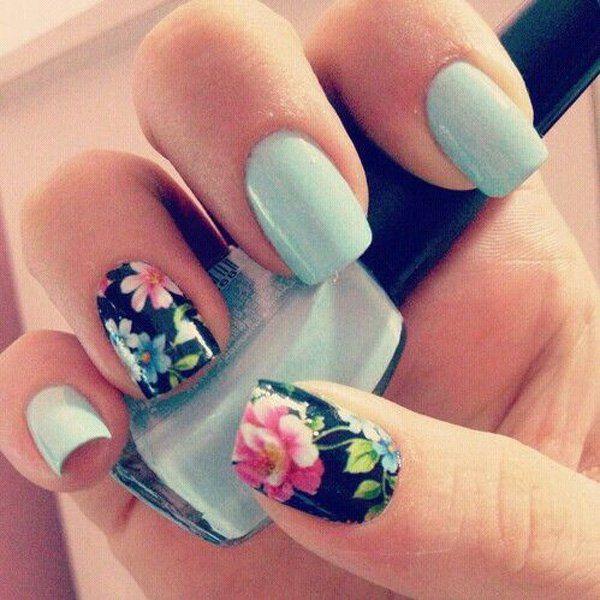 Matte Sky Blue Flower Nails.