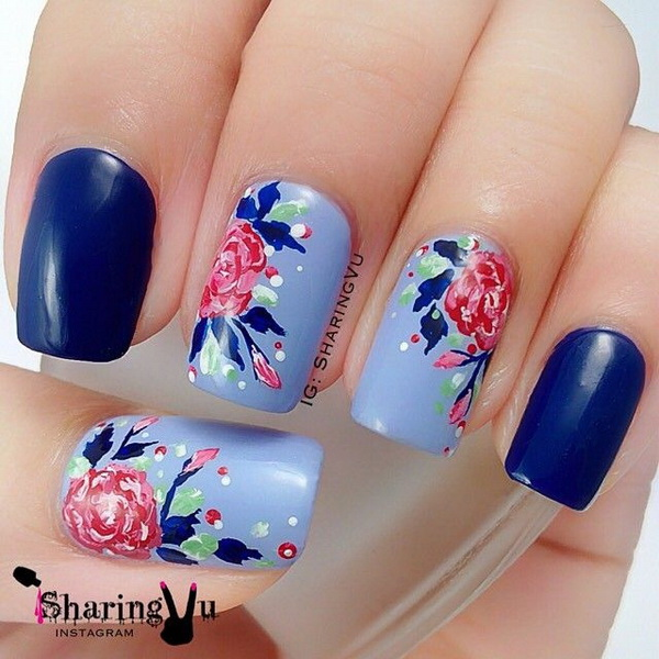 Blue Background Flower Nail Design.