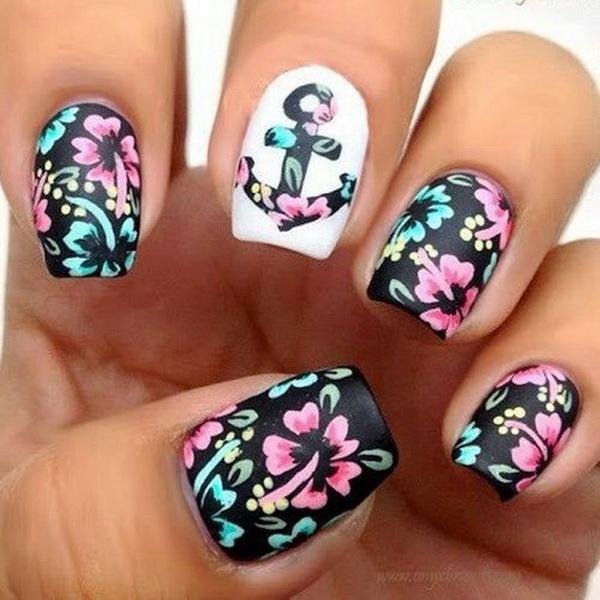 Floral Chevron Nail Art Design.