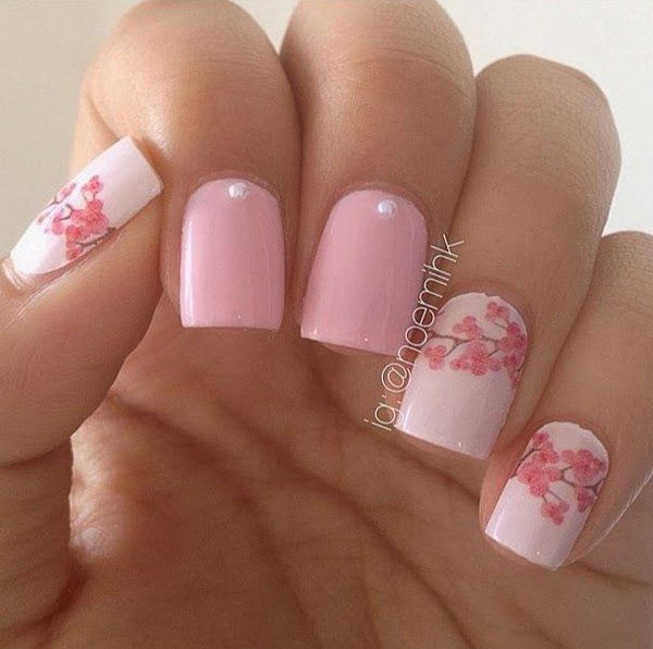 Pastel Pink Flower Nail Design - 45+ Pretty Flower Nail Designs - For Creative Juice