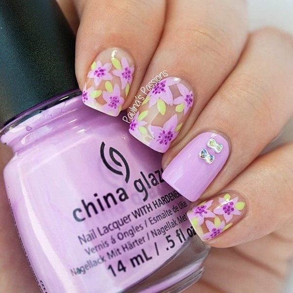Purple Flowers + Negative Space Nails.