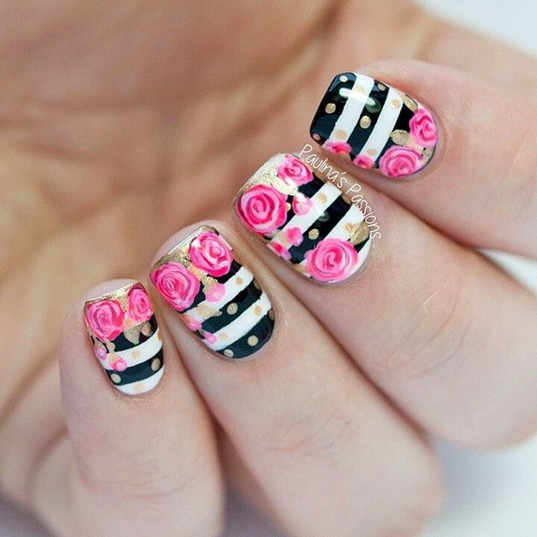 Black and White Striped Nails With Gold Polka Dots and Pink Roses.