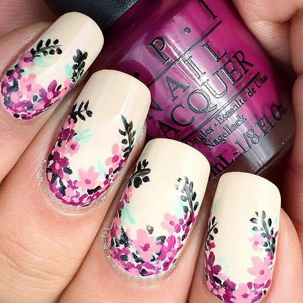 Beige Background Flower Nails.