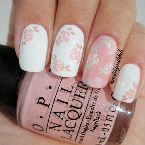 45 pretty flower nail designs for creative juice pink white floral nail art prinsesfo Gallery