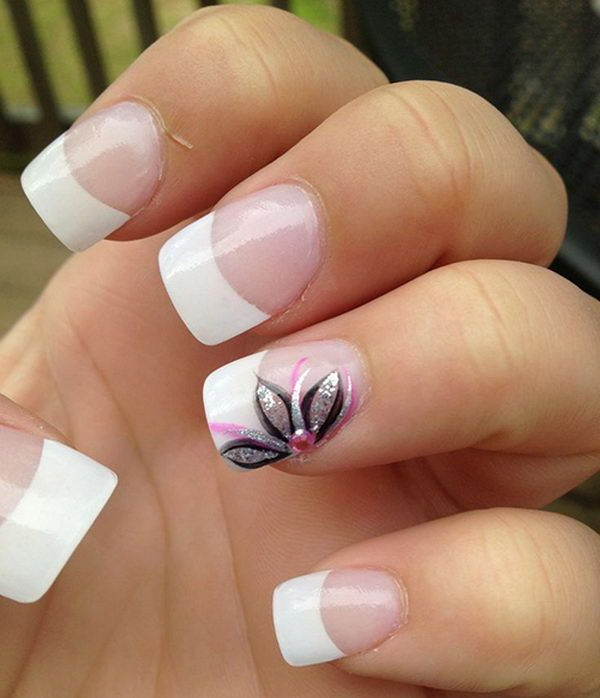 White Tips & Flower Nail Design.