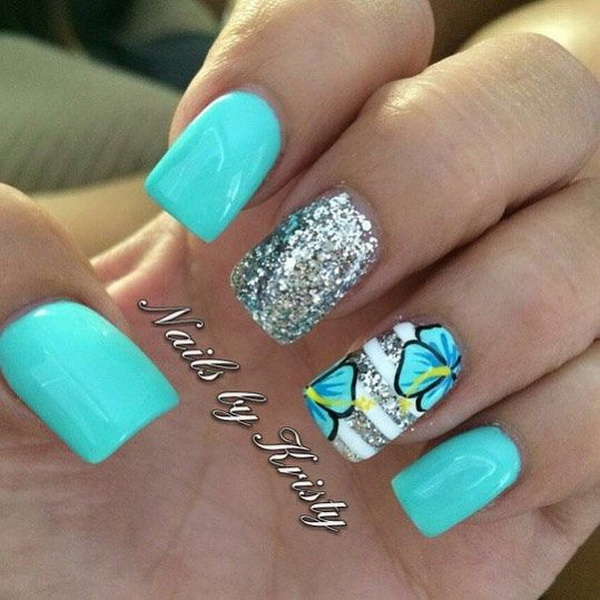45 pretty flower nail designs for creative juice blue and silver flower nail design prinsesfo Image collections