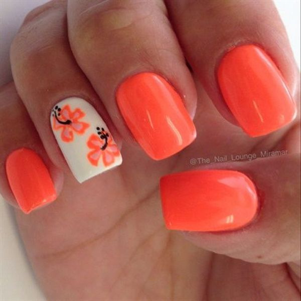 Neon Coral Floral Nail Design.