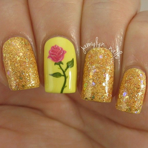 Gold Shimmer Nails With Rose.